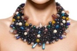 Black Bead and Copper Bib Necklace