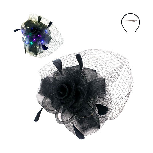 Light up Black Flower and Feather Birdcage Hairpiece Headband