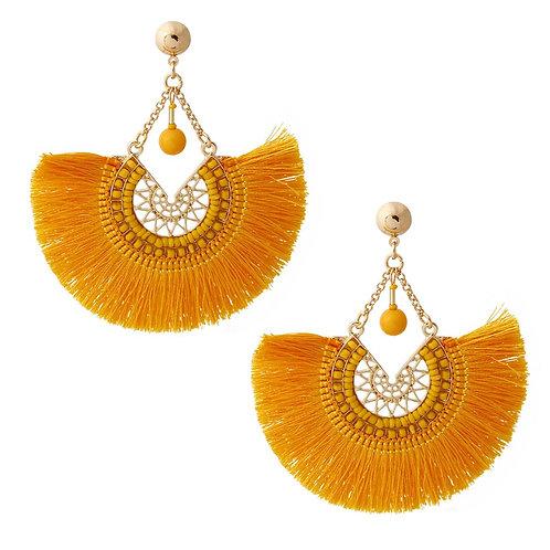 Gold Silk Tassel Drop Earrings