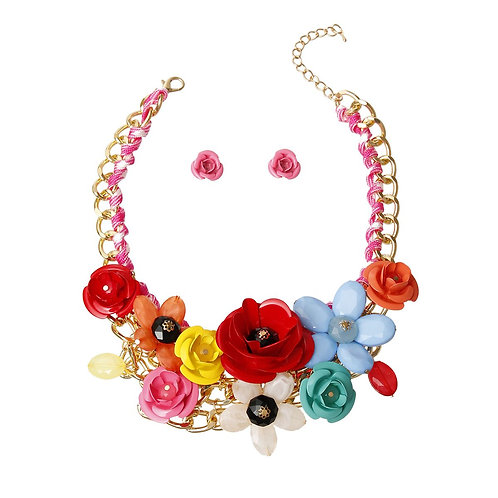 Multi Color Rose Chunky Collar Necklace Set