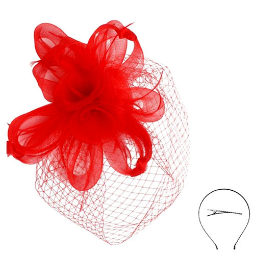 Red Feather and Flower Birdcage