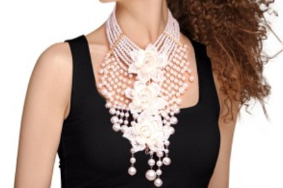 Pearl Flower and Fringe Necklace Set