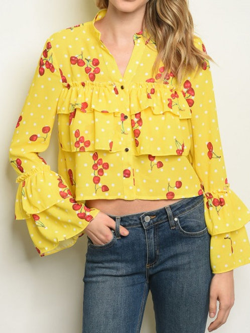 YELLOW WITH CHERRY PRINT BLOUSE