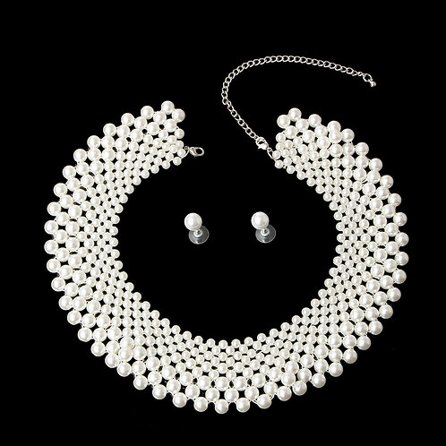 Cream Pearl Collar Necklace Set