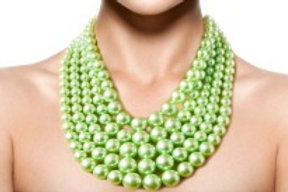 Lime Green Multi Strand Pearl Necklace