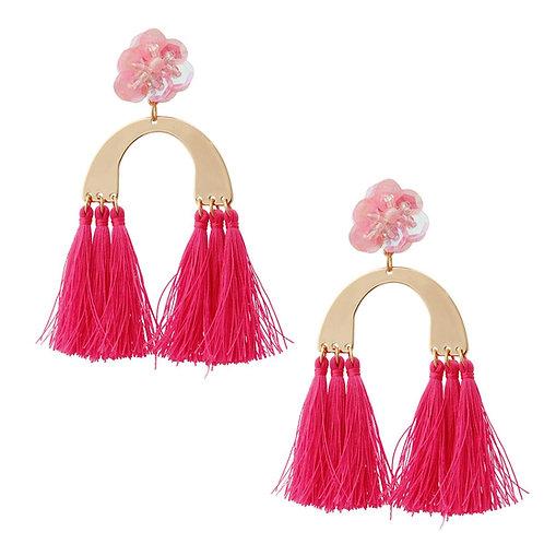 Pink Flower and Tassel Drop Earrings