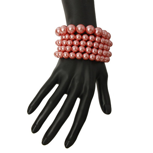 Pink Pearl Stretch Bracelet Set