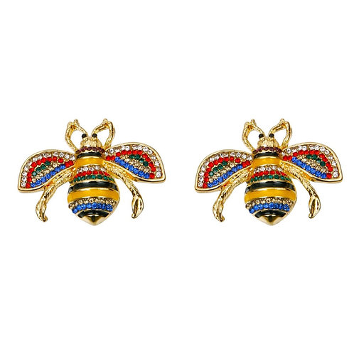 Gucci Style Multi Color Rhinestone Bee Stud Earrings