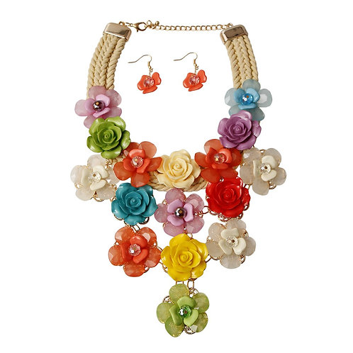 Rainbow Flower Cord Necklace Set