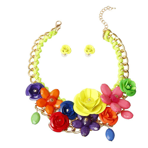 Neon Yellow Rose Chunky Collar Necklace Set
