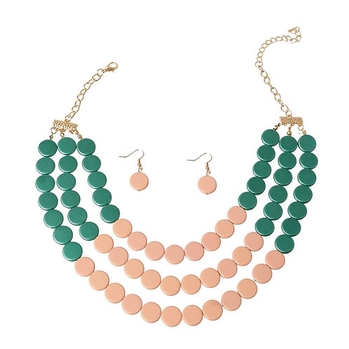 Pink and Green Disc Bead Set