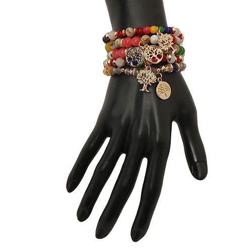 Multi Color Tree of Life Charm Bracelet Set