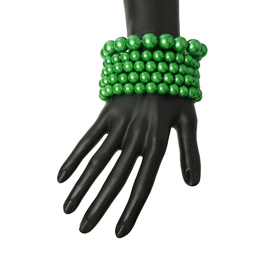 Green Pearl Stretch Bracelet Set