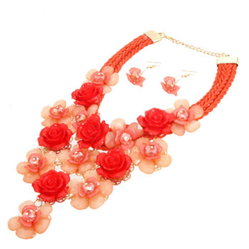 Peach Flower Cord Necklace