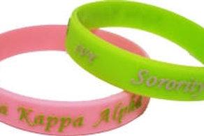 AKA Green/Pink Embossed Silicone Bracelet