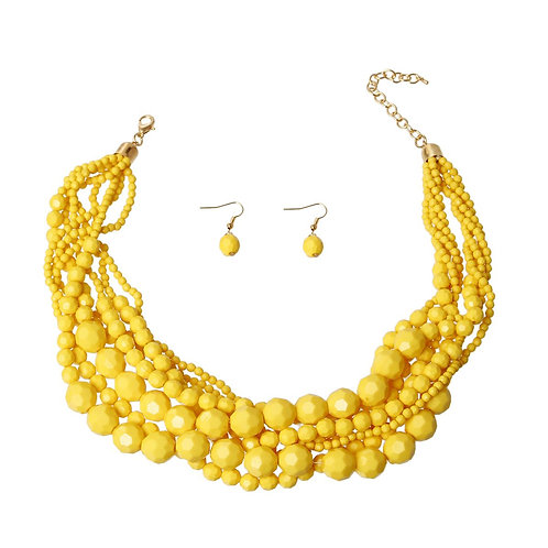 Gold Braided Bead Necklace Set