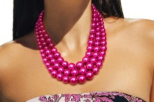 Fuschia Multi Strand Pearl Necklace