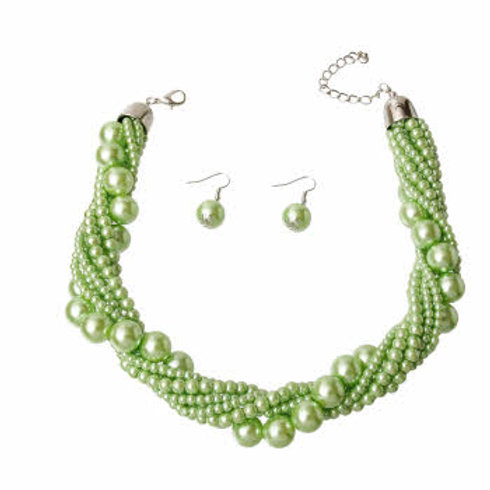 Lime Green Pearl Twisted Necklace Set
