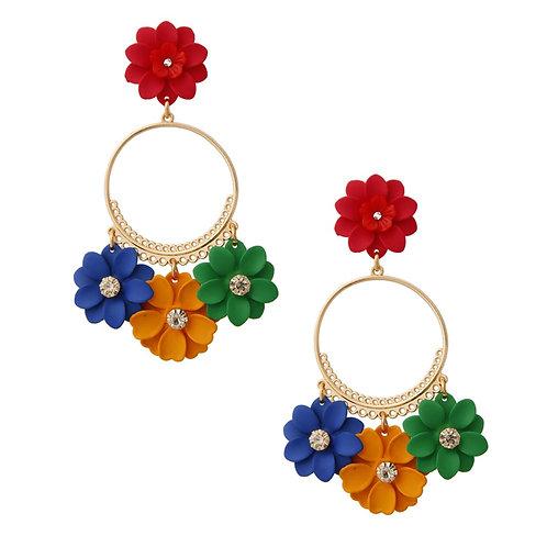 Multi-Color Flower Drop Hoop Earrings