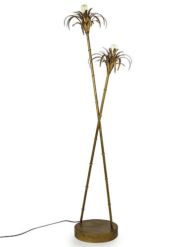 Antiqued Gold Iron Palm Tree Floor Lamp