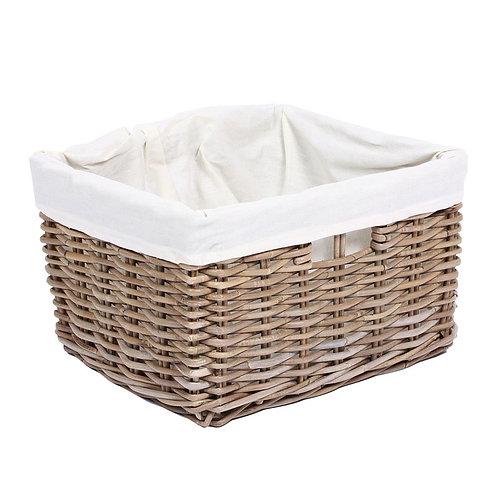 Wyoming Rectangular basket w/hole handles & lining