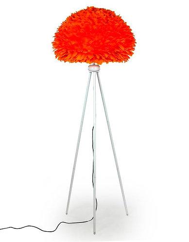 Matt White Tripod Floor Lamp with Orange Goose Feather Shade