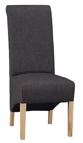 Scroll Back Chair - Plain Charcoal (Pair)