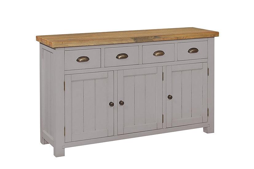 Cotswold Grey Rustic 4 Drawer 3 Door Sideboard