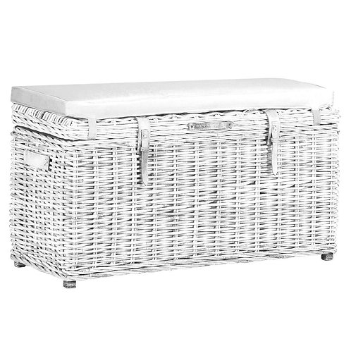 Wyoming Rectangular Trunk Bench in White Wash with Cushion