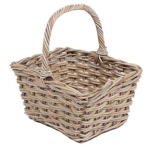 Wyoming Square basket w/high handle, grey, 2x2 weaving