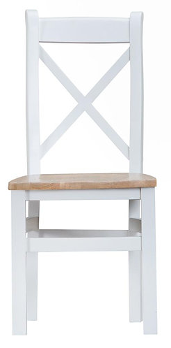 Cross Back Dining Chair w/ Wooden Seat (Pair)