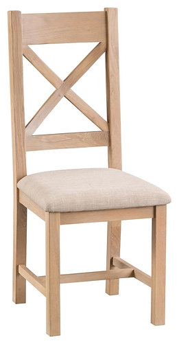 New York Cross Back Dining Chair W/ Fabric Seat (Pair)
