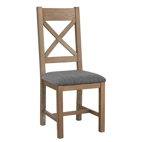 Kentucky Cross Back Chair Fabric Seat in Check Grey