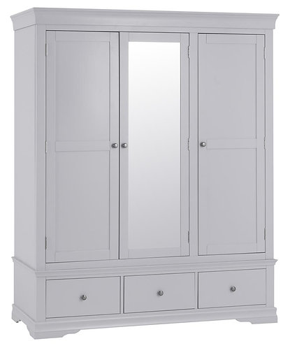Washington Grey 3 Door 2 Drawer Wardrobe