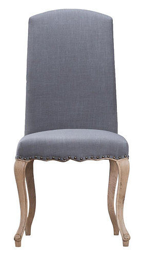 Luxury Chair with Studs and Carved Oak Legs Grey (Pair)
