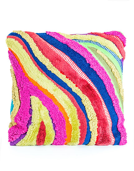 Recycled Patchwork Wave Cushion