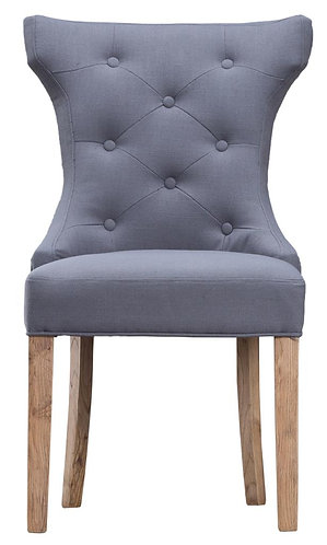 Winged Button Back Chair with Metal Ring Grey (Pair)