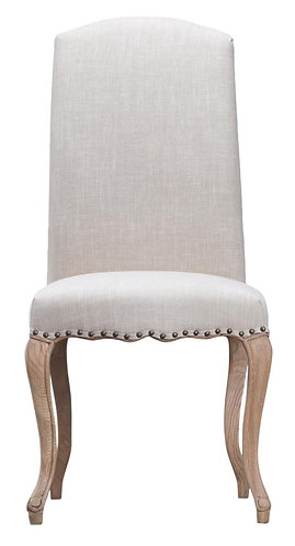 Luxury Chair with Studs and Carved Oak Legs Beige (Pair)