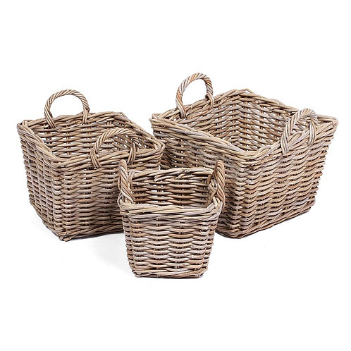 Wyoming S/3 Square baskets w/ear handles in grey
