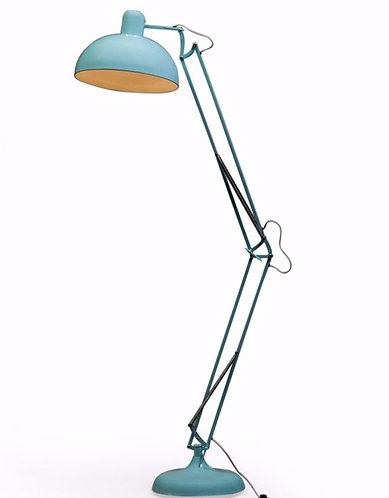 Sky Blue Extra Large Classic Desk Style Floor Lamp (Grey Fabric Flex)