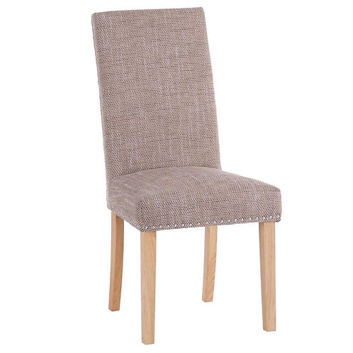 Studded Dining Chair with Tweed Fabric (Pair)