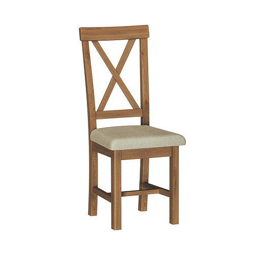 Vermont Oak Dining Chair W/Fabric Seat (Pair)