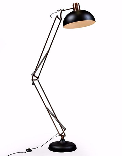 Matt Black/Vintage Copper Arms Extra Large Classic Desk Style Floor Lamp (Black