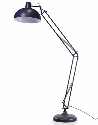 Matt Grey Extra Large Classic Desk Style Floor Lamp (Black & White Fabric Flex)