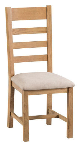 Lowa Ladder Back Dining Chair W/ Fabric Seat (Pair)