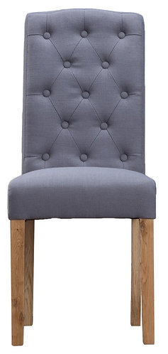Button Back Upholstered Chair Grey (Pair)