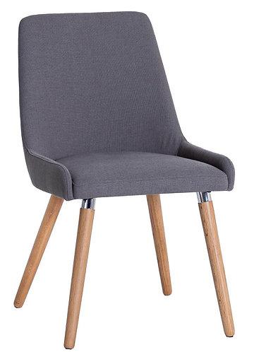 Retro Style Grey Fabric Chair (Pair)