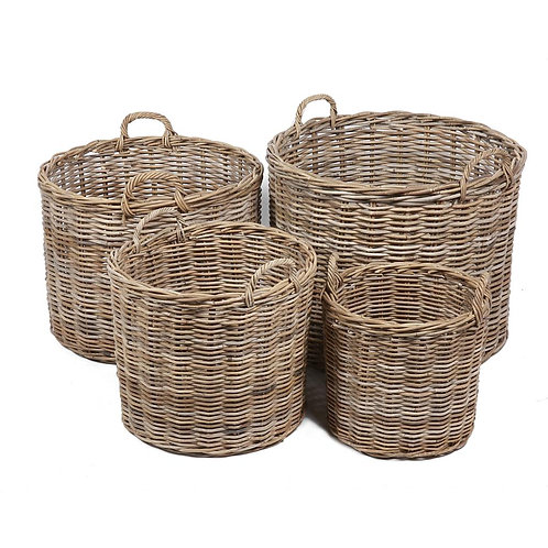Wyoming S/4 round baskets w/ear handles in grey