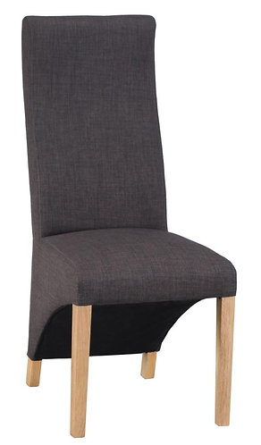 Wave Back Chair - Plain Charcoal (Pair)