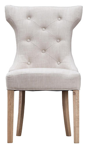 Winged Button Back Chair with Metal Ring Beige (Pair)